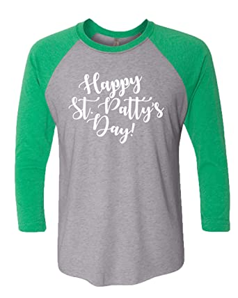 264be84e St. Patrick's Day Happy St. Patty's Day Ladies Baseball Tee-Green/Heather.  Roll over image to zoom in. Trenz Shirt Company
