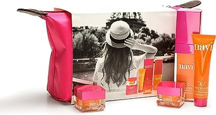 NAVI Neceser Viaje/Set de belleza & Cremas faciales mujer/Kit Hidratante & Antiedad Color Rosa: Amazon.es: Belleza
