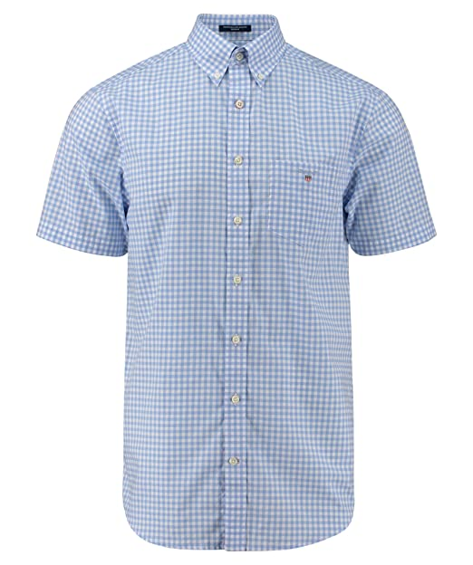 GANT Herren Freizeithemd The Broadcloth Gingham Reg Ss Bd  Amazon.de   Bekleidung 778bbf104e