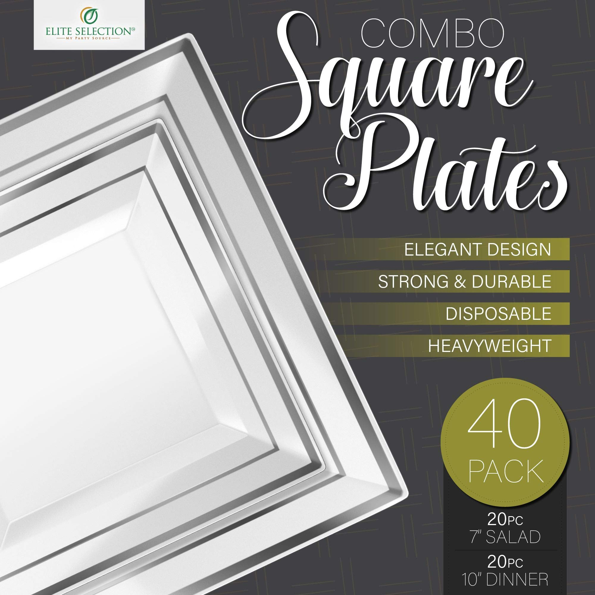Disposable Plastic Plate Set - 40 Pack Dinnerware with 10'' Dinner and 7'' Salad Plate (20 Count Each) with Elegant Silver Trim for Wedding, Birthday, Party - by Elite Selection by ELITE SELECTION (Image #4)