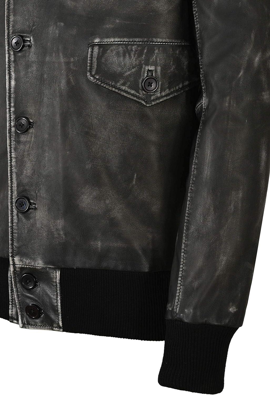 BARNSTORMER Men Vintage Black Aerobatic Bomber Real Leather Jacket 4451