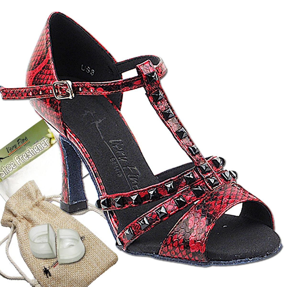 Women's Ballroom Dance Shoes Tango Wedding Salsa Dance Shoes Red Snake Sera7012EB Comfortable - Very Fine 3'' Heel 7.5 M US [Bundle 5]