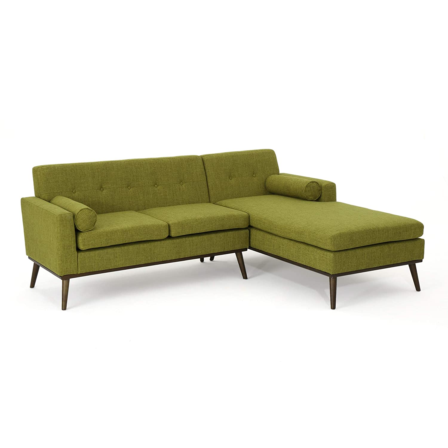 Fine Christopher Knight Home Sophia Mid Century Modern 2 Piece Fabric Sectional Sofa And Lounge Set Green Walnut Ibusinesslaw Wood Chair Design Ideas Ibusinesslaworg