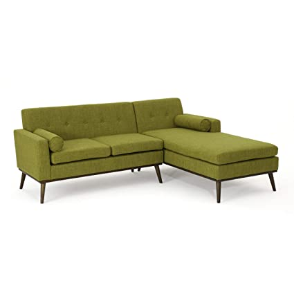 Great Deal Furniture 304060 Sophia Mid Century Modern 2 Piece Green Fabric  Sectional Sofa and Lounge Set, Walnut