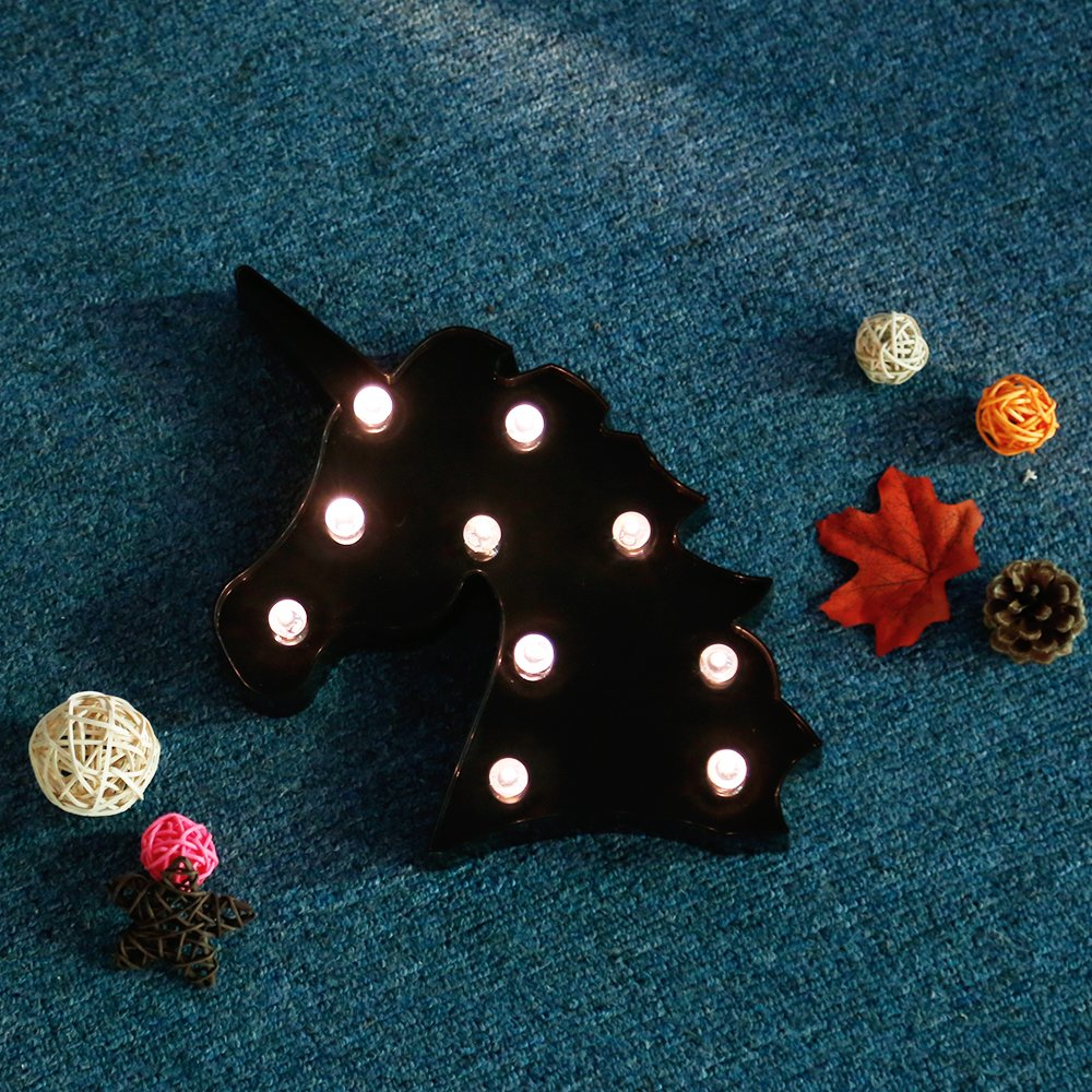 Glintee Unicorn LED Night Lamp Decorative Marquee Signs Light Party Supplies-Wall Decoration for Living Room,Bedroom,Office(Battery Operated)(Black Unicorn Head)