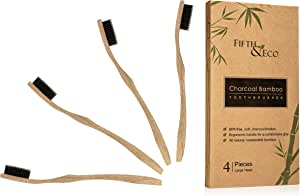 Eco-friendly Natural Bamboo Toothbrushes with Soft Charcoal Bristles | 4 Pack