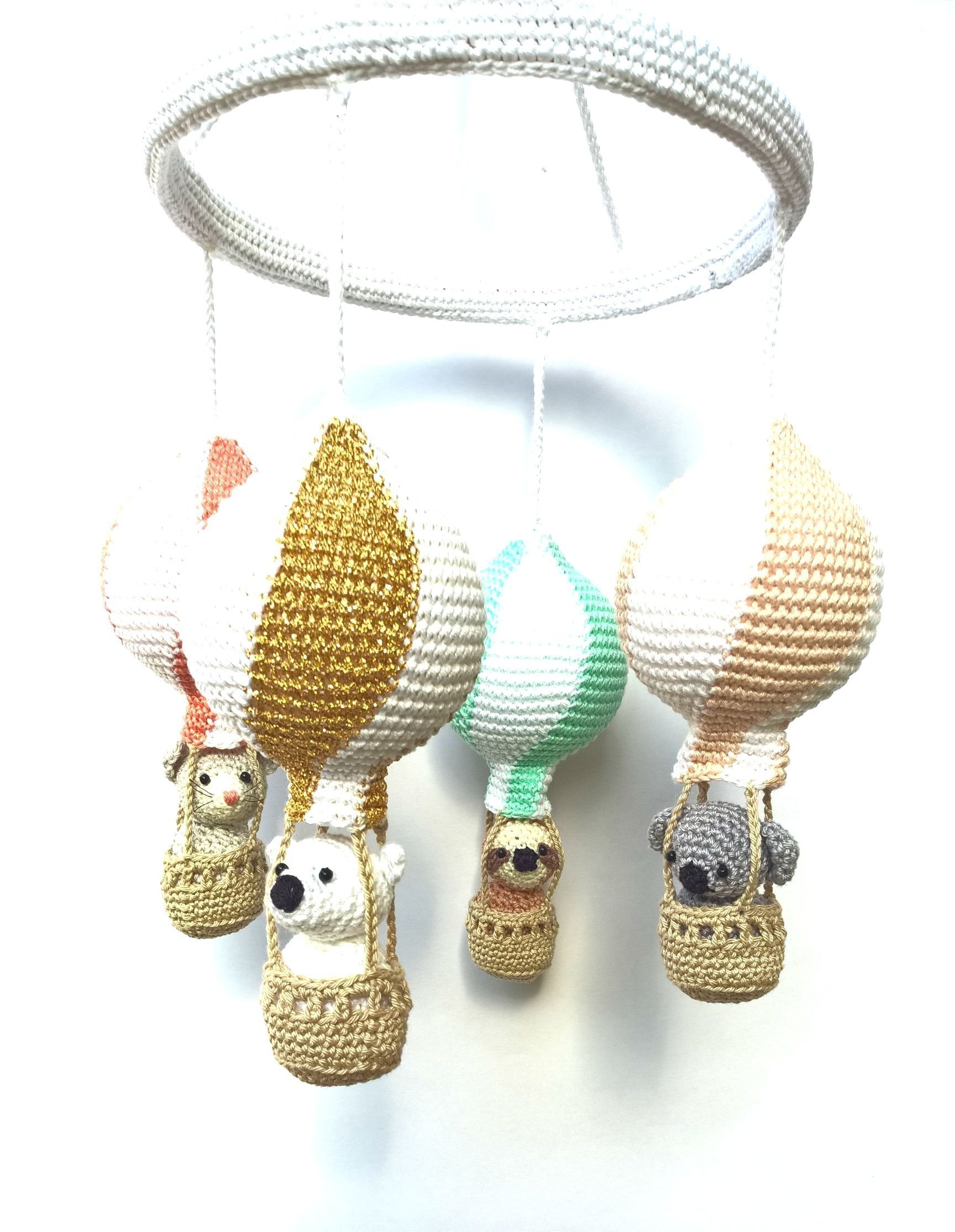 Gold Coral Mint Peach Nursery Hot Air Balloons Baby Mobile, Baby girl's Modern Nursery Mobile