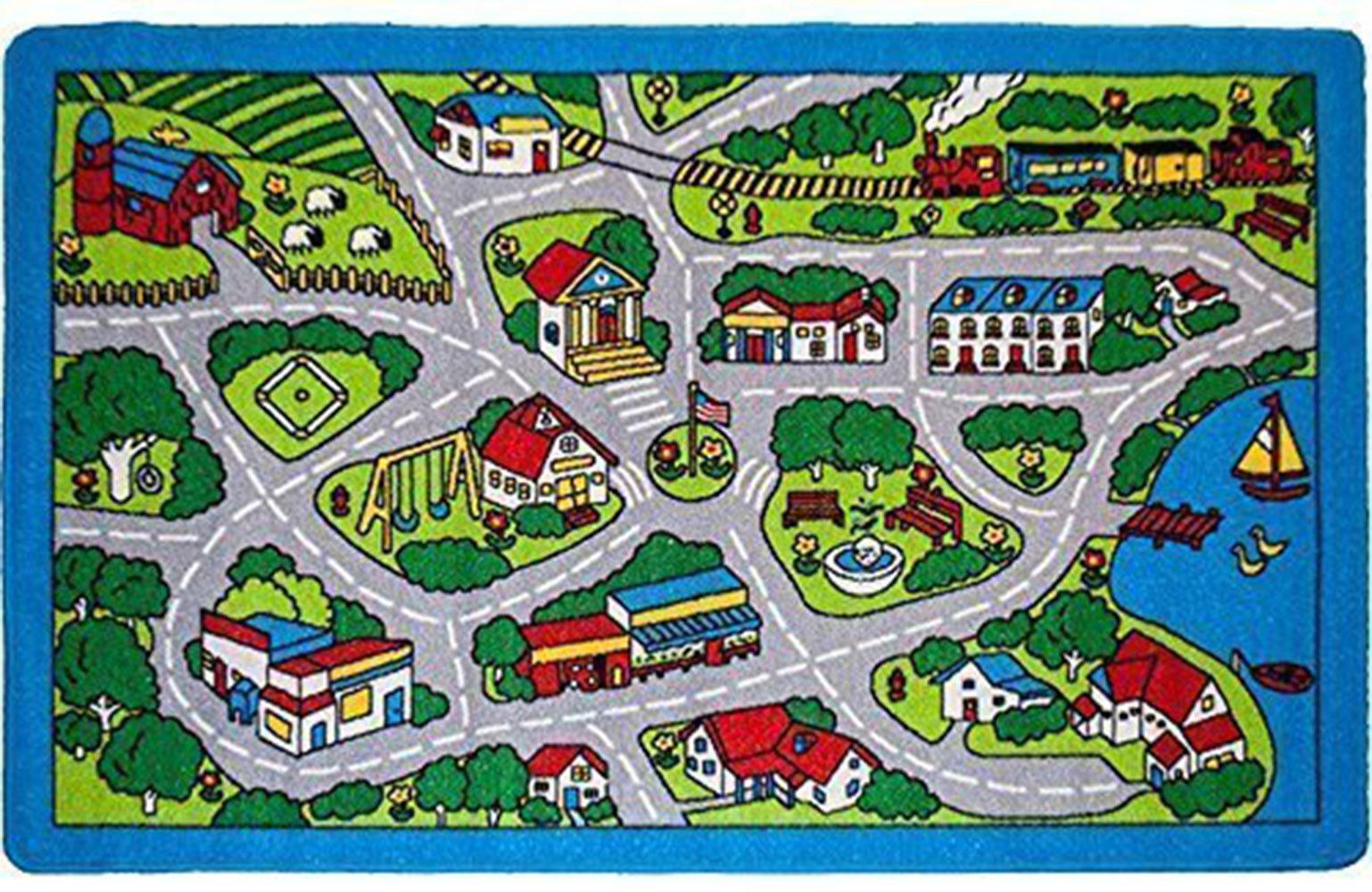 Kids Rug Street Map in Grey 5' X 7' Children Area Rug - Non Skid Gel Backing (59'' x 82'')