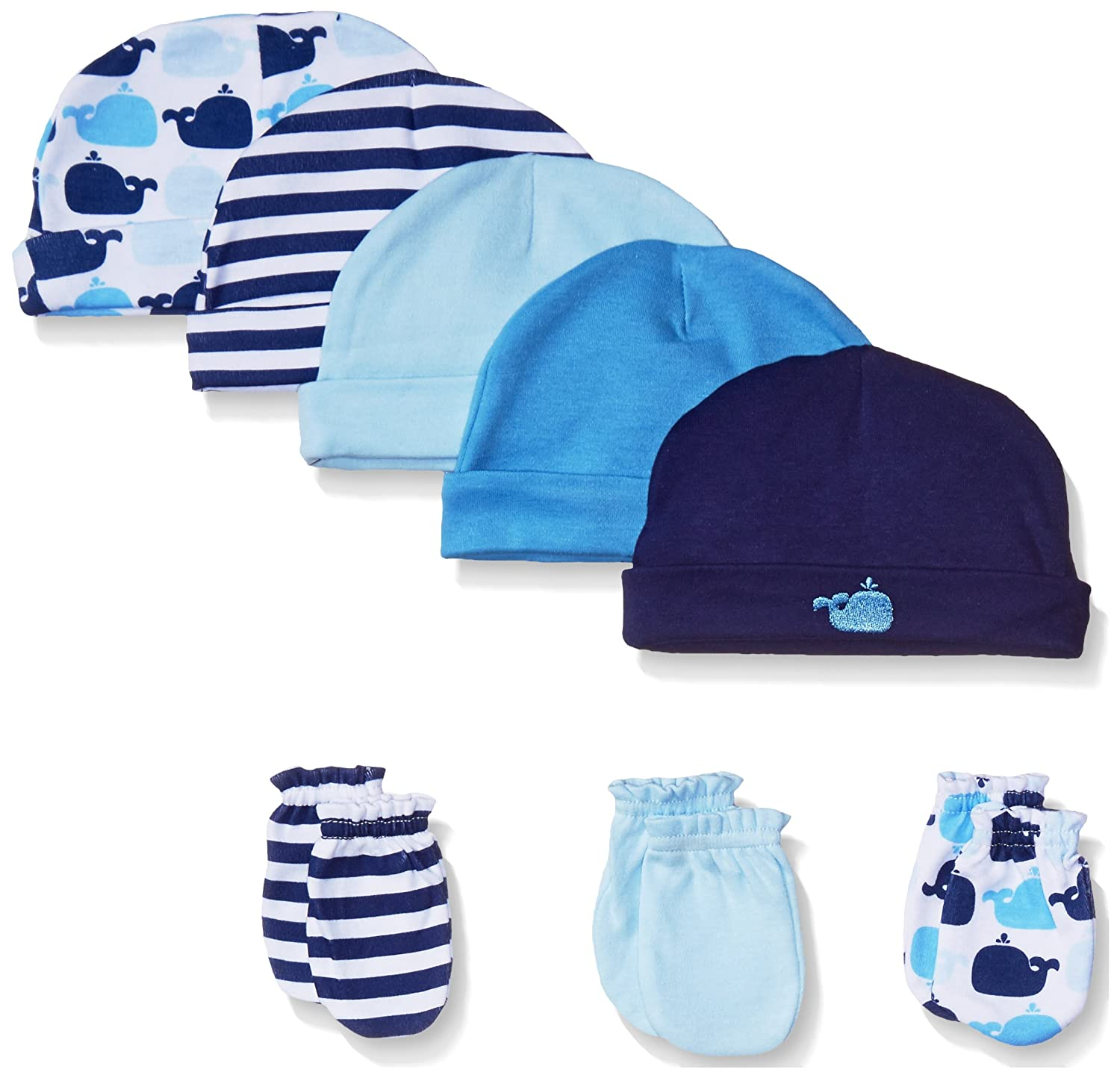 Luvable Friends Baby Girls' 5 Cap and 3-Pack Scratch Mitten Set, Blue Whales 0-6 Months 34569