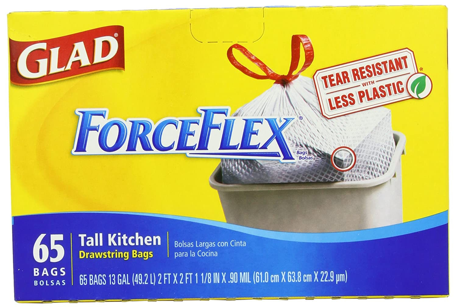 Amazon.com: Glad Forceflex Tall Kitchen Drawstring Garbage Bags, 65 Count: Health & Personal Care
