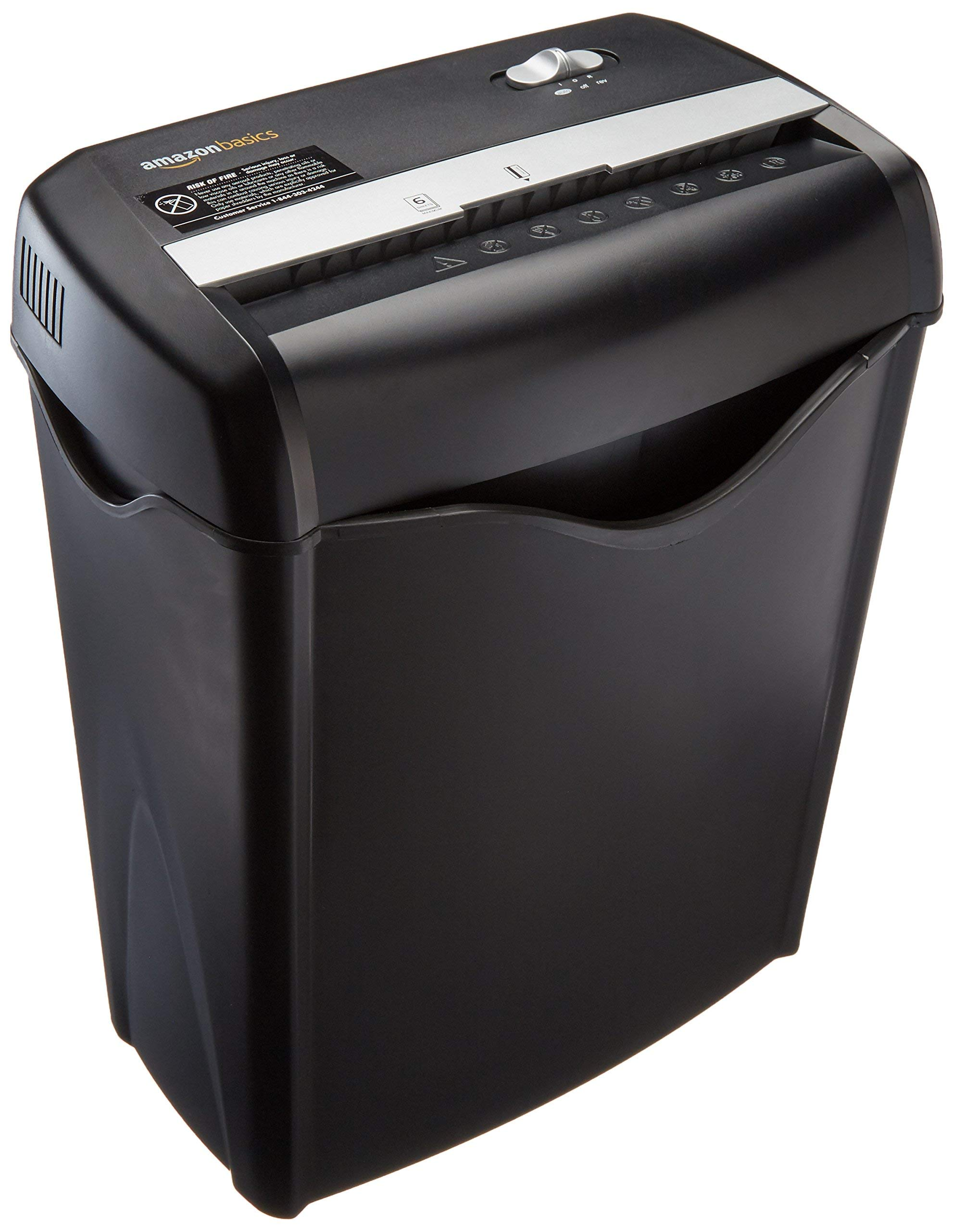 AmazonBasics 6-Sheet Cross-Cut Paper and Credit Card Shredder (Renewed)