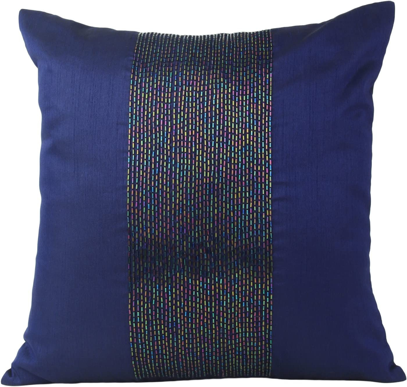 Amazon Com The White Petals Navy Blue Decorative Pillow Cover