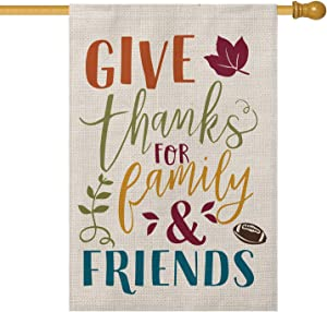 AVOIN Give Thanks for Family and Friends House Flag Vertical Double Sized, Fall Thanksgiving Football Yard Outdoor Decoration 28 x 40 Inch