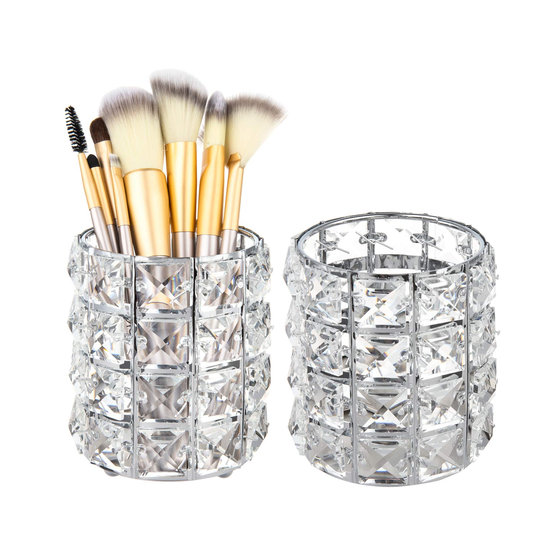 Feyarl 2Pcs Crystal Beads Makeup Brush Holder Bling Cosmetic Tools Organzier Display Case Pen Pencil Holder Cup Pot Vanity Storage Candle Holder Decorative for Bedroom Bathroom Dresser (Silver)