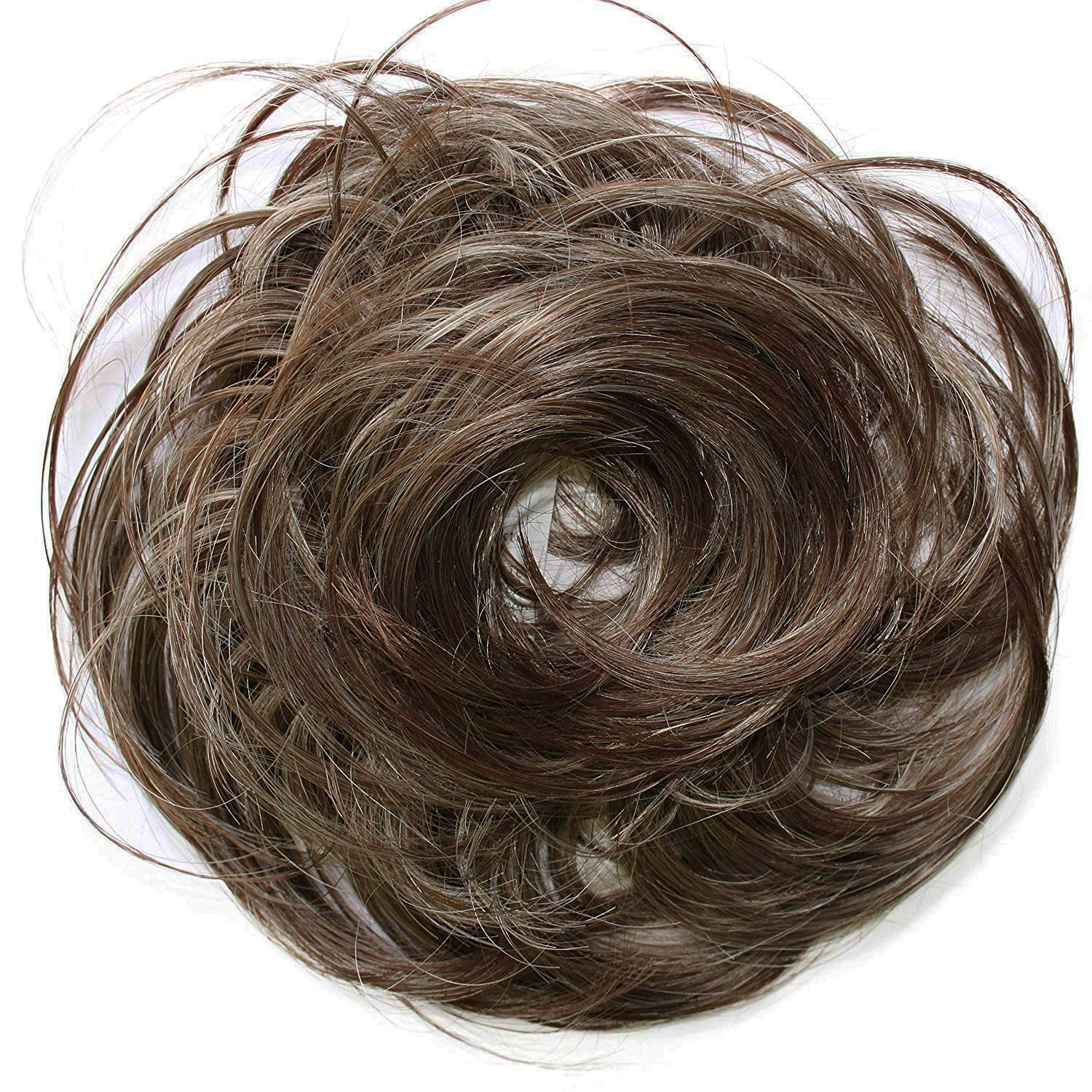 PRETTYSHOP Hairpiece Scrunchie Bun Up Do | Ponytail Extensions | Wavy Curly or Messy (Grey Brown Mix 101T30)