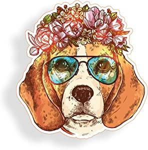 Beagle Dog Sticker Wearing Glasses Flowers for Cup Cooler Car Truck Vehicle Laptop Window Bumper Decal