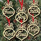 Fheaven 6Pcs Wooden Ornament Xmas Tree Hanging Tags Pendant Decor Christmas Decorations