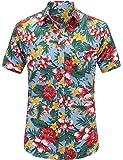 JEETOO Mens Casual Flower Print Hibiscus Short Sleeve Hawaiian Aloha Shirt