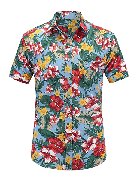 3dc87cd5 JEETOO Mens Casual Flower Print Hibiscus Short Sleeve Hawaiian Aloha Shirt(Bhibiscus),  Small