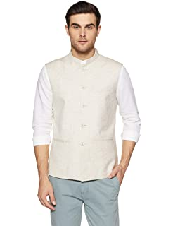 6eecfaa820 True Blue Mens Mao Collar Slub Nehru Jacket: Amazon.in: Clothing ...