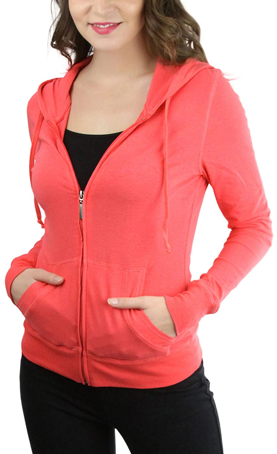 ToBeInStyle Women's Long Sleeve Full Zip-up Lined Drawstring Hoodie 8a4ace4cvis7bt_i