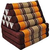 Wifash Materasso Thai 3pieghe con cuscino triangolo, Relax, Materasso, Kapok, Spiaggia, Piscina, made in thailande, Marrone/Arancione (81103)