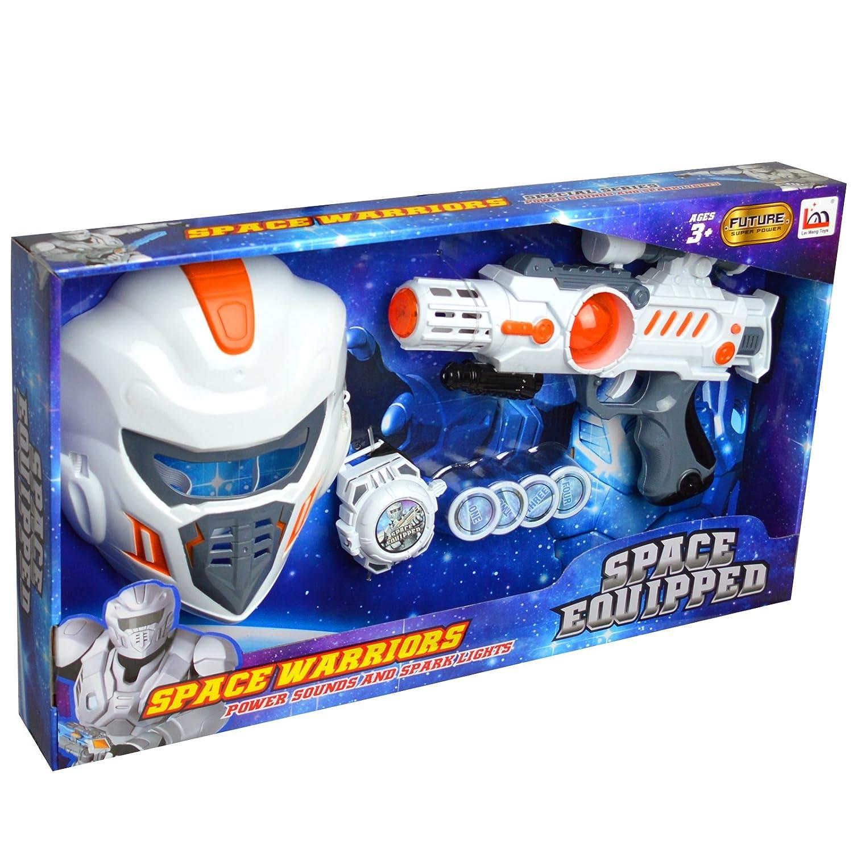Space - Juego militar con máscara de pantalón, pistola y tiro de muñeca: Amazon.es: Juguetes y juegos