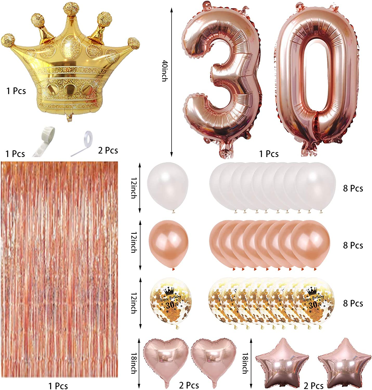 30th Birthday Decorations Rose Gold,30th Birthday Party Supplies Boy Girl 30th Balloons Numbers,Rose Gold Balloons Crown Hat,Rose Gold Foil Fringe Curtain Hanging Swirls