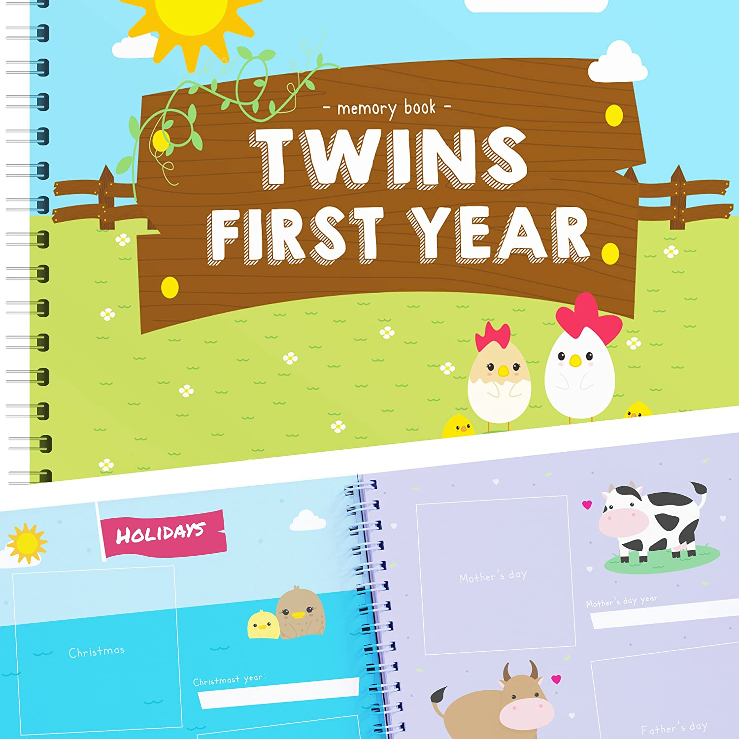 Newborn Twins by Unconditional Rosie - A Beautiful Baby Memory Book for Documenting Your Twin Baby's First Year! Perfect Gift for Moms Having Two Babies! Gorgeous Baby Twin Gifts - Farm Edition TWINSFARMSINGLE