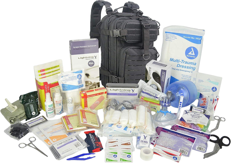 Lightning X Stocked EMS/EMT Trauma & Bleeding First Aid Responder Medical Backpack + Kit - Black: Health & Personal Care