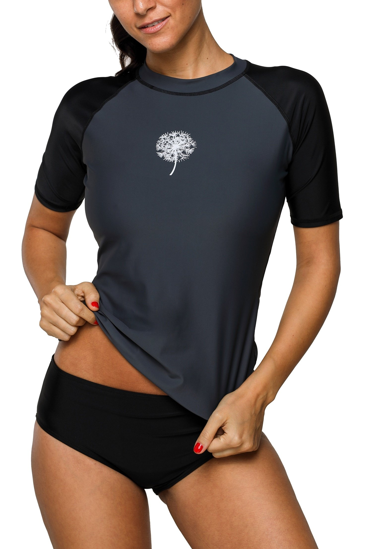 Anwell Womens UPF50+ Short Sleeve Rash Gurad UV Surfing Athletic Top Black XL by Anwell