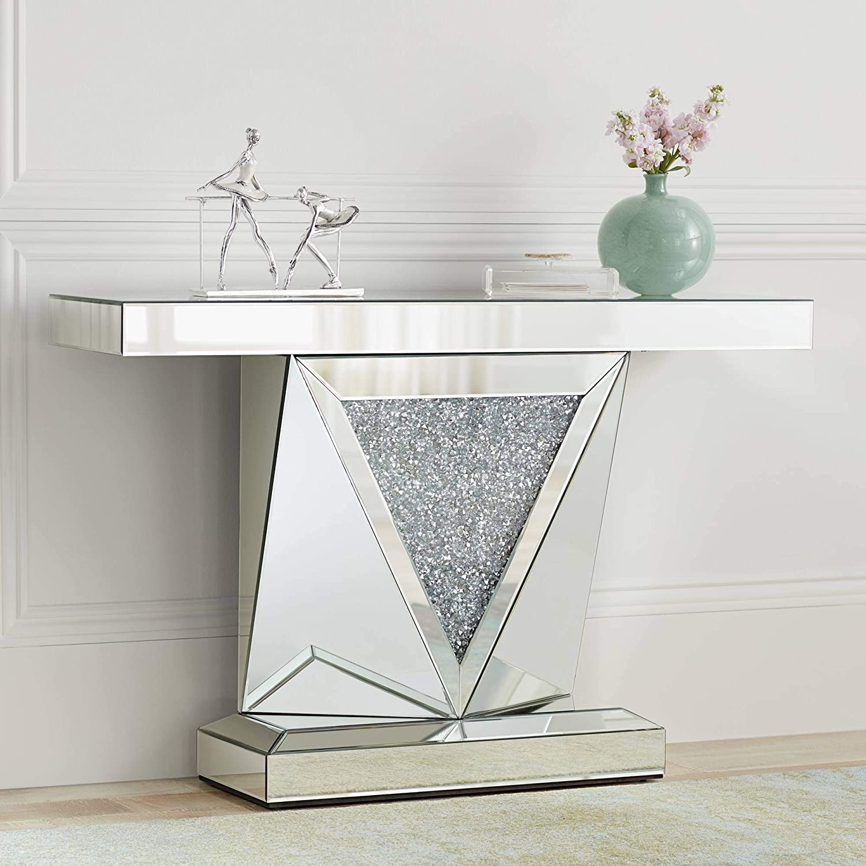 "Milla 47 1/2"" Wide Geometric-Cut Mirrored Console Table - Studio 55D"