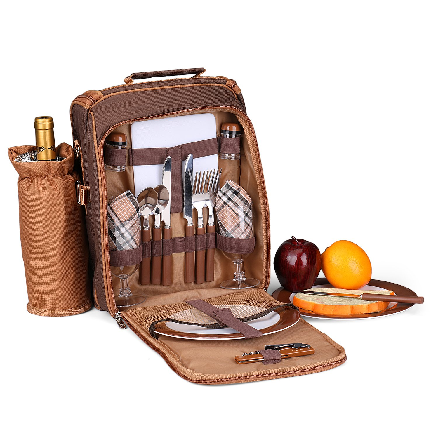 Flexzion Picnic Bag Kit - Set for 2 Person With Cooler Compartment, Detachable Bottle/Wine Holder, Plates and Flatware Cutlery Set Insulated Lunch Bag (Plaid Tartan - Brown) by Flexzion