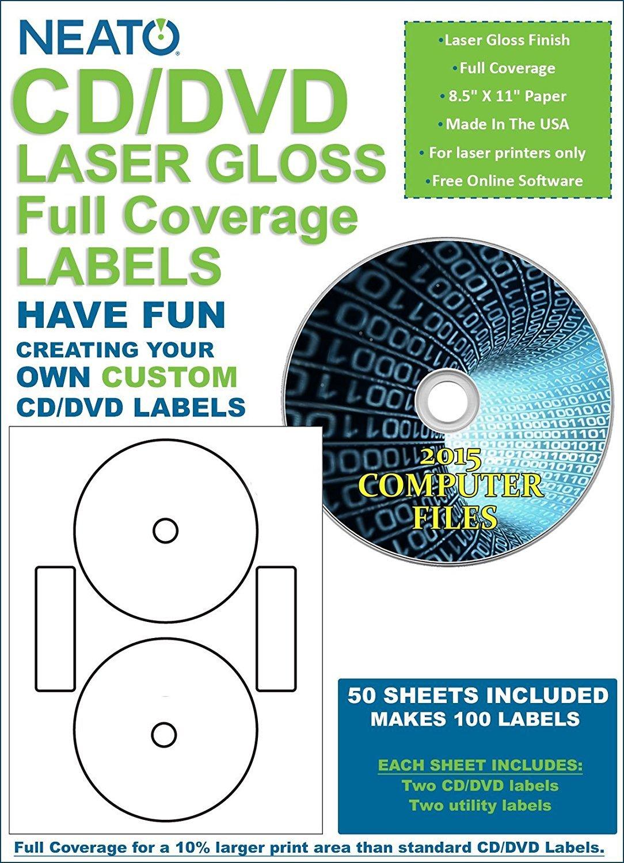 Amazon.com : Neato CD/DVD Laser Gloss Full Coverage Labels - 50 ...