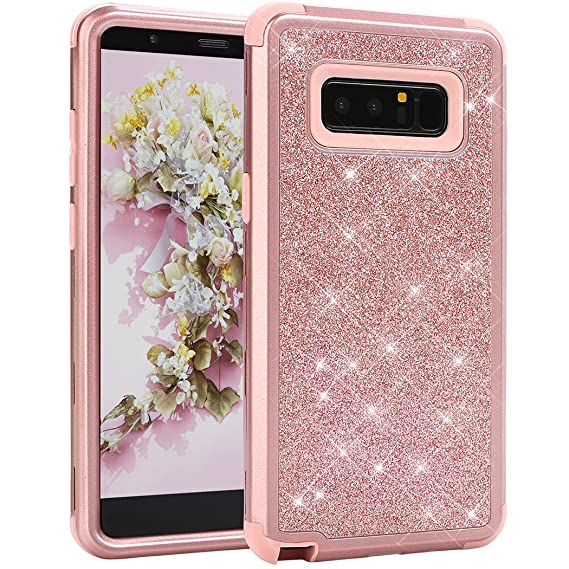 watch 3781c f962b Galaxy Note 8 case, WORLDMOM Rose Gold Glitter Luxury Sparkly Hybrid 3  Layers Heavy Duty Shockproof Protective with Bling Shiny Pretty Cute  Fashion ...