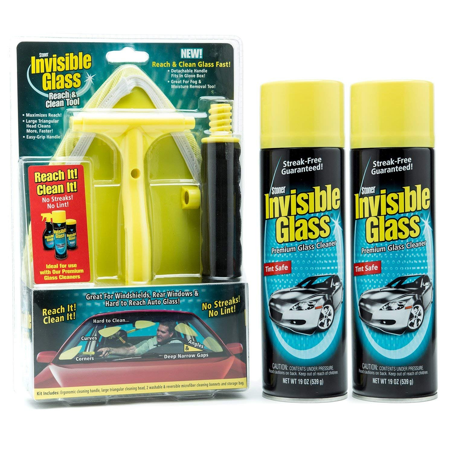 Stoner Car Care 1 Window and Windshield Kit Reach and Clean Tool (95160) with 2 Invisible Glass Cleaner (91164), 38. Fluid_Ounces by Stoner Car Care (Image #1)