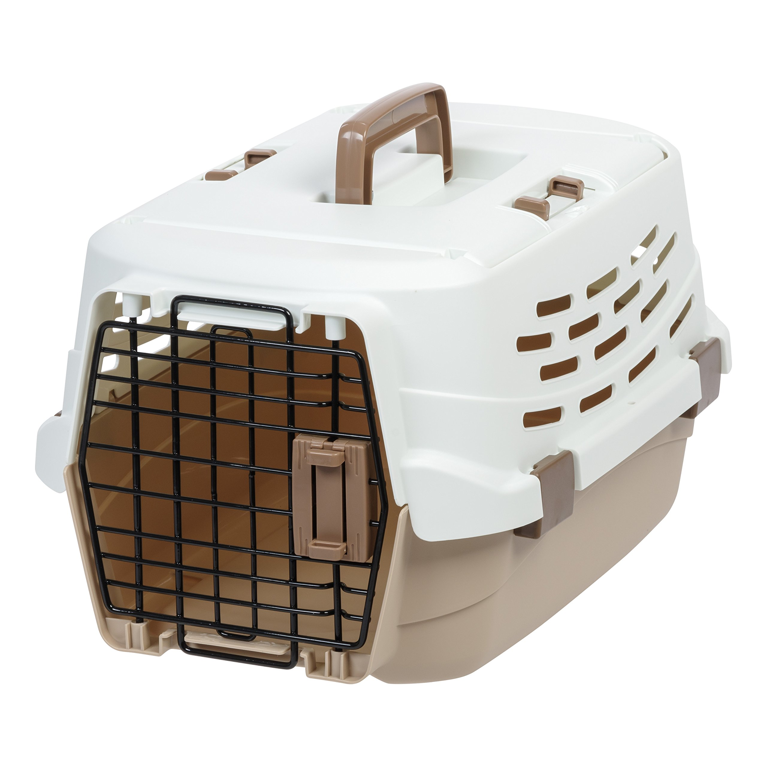 IRIS USA, Inc.. UPC-490 Easy Access Pet Travel Carrier, Small, Off-White/Brown