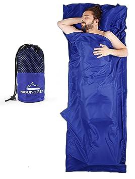MOUNTREX - Saco de Dormir Ultraligero y Compacto (350 g, 220 x 90 cm, Incluye Toalla de Mano), Blau mit Klettverschluss: Amazon.es: Deportes y aire libre