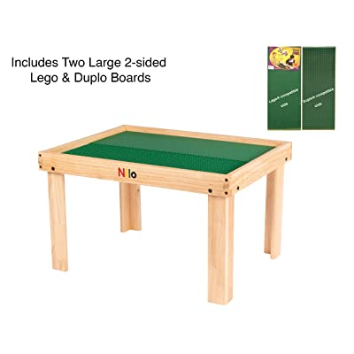 Kids Play Table Set with 2 Compatible Lego Duplo Detachable Two-Sided Baseplates/Boards/Mats by NILO (N34 Activity Table w/Holes, 24x32x20 and 2X Green Base Plates 12x32): Home & Kitchen