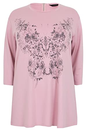 1af4b72a33ba45 YoursClothing Women s Plus Size Butterfly Print Top with Diamante Details  Size 14 Pink