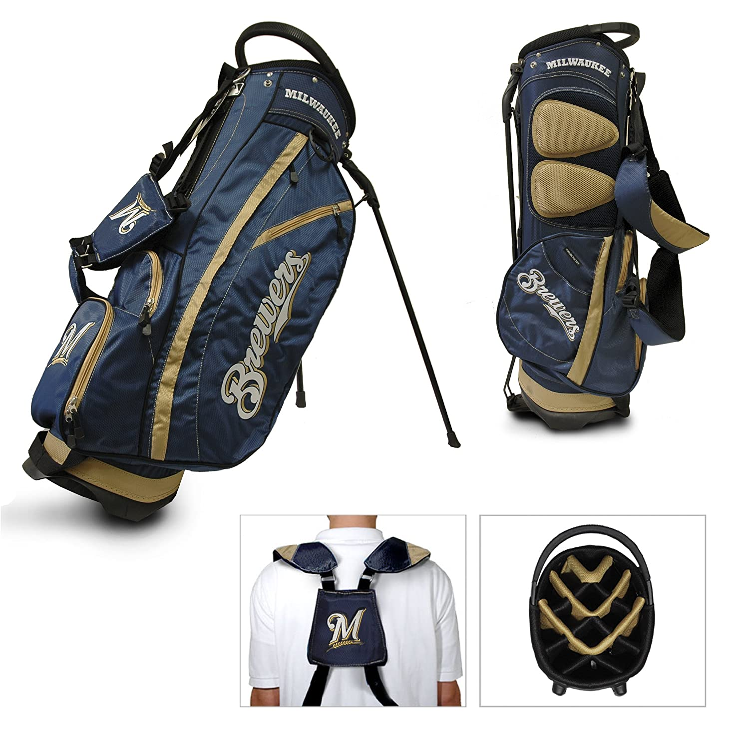Team Golf MLB Fairway Golf Stand Bag Lightweight 14 way Top Spring Action Stand Insulated Cooler Pocket Padded Strap Umbrella Holder Removable Rain Hood