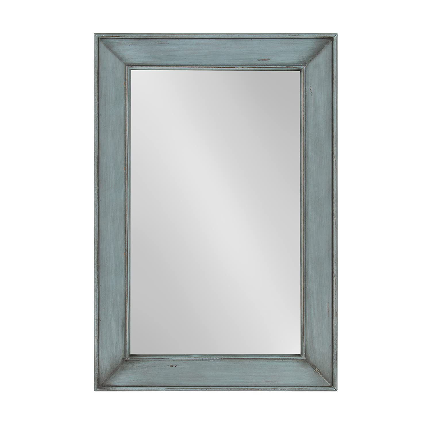 Kate and Laurel Yuda Wooden Rectangle Framed Wall Mirror, 23.5×35, Blue
