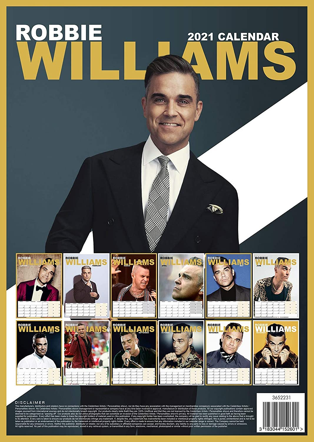 Robbie Williams 2021 A3 Limited Edition Music Wirobound Wall Calendar The Perfect Xmas or Birthday Gift