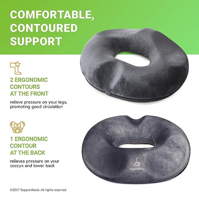 Supportiback® Cojín circular para sentarse | Alivio para las hemorroides, la próstata, dolores postparto, operaciones o úlceras