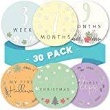 Linda's Baby Monthly Stickers for Baby Boy and Girl   30 Pack   0-12 Months & Holidays Baby Milestone Stickers   Easy…