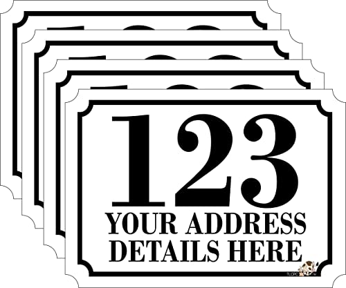 Personalised printed wheelie bin number stickers with number and road name a6 vinyl waste container