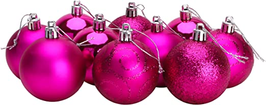 16 x 60mm Baby Pink Glitter Heart Shaped Christmas Tree Baubles