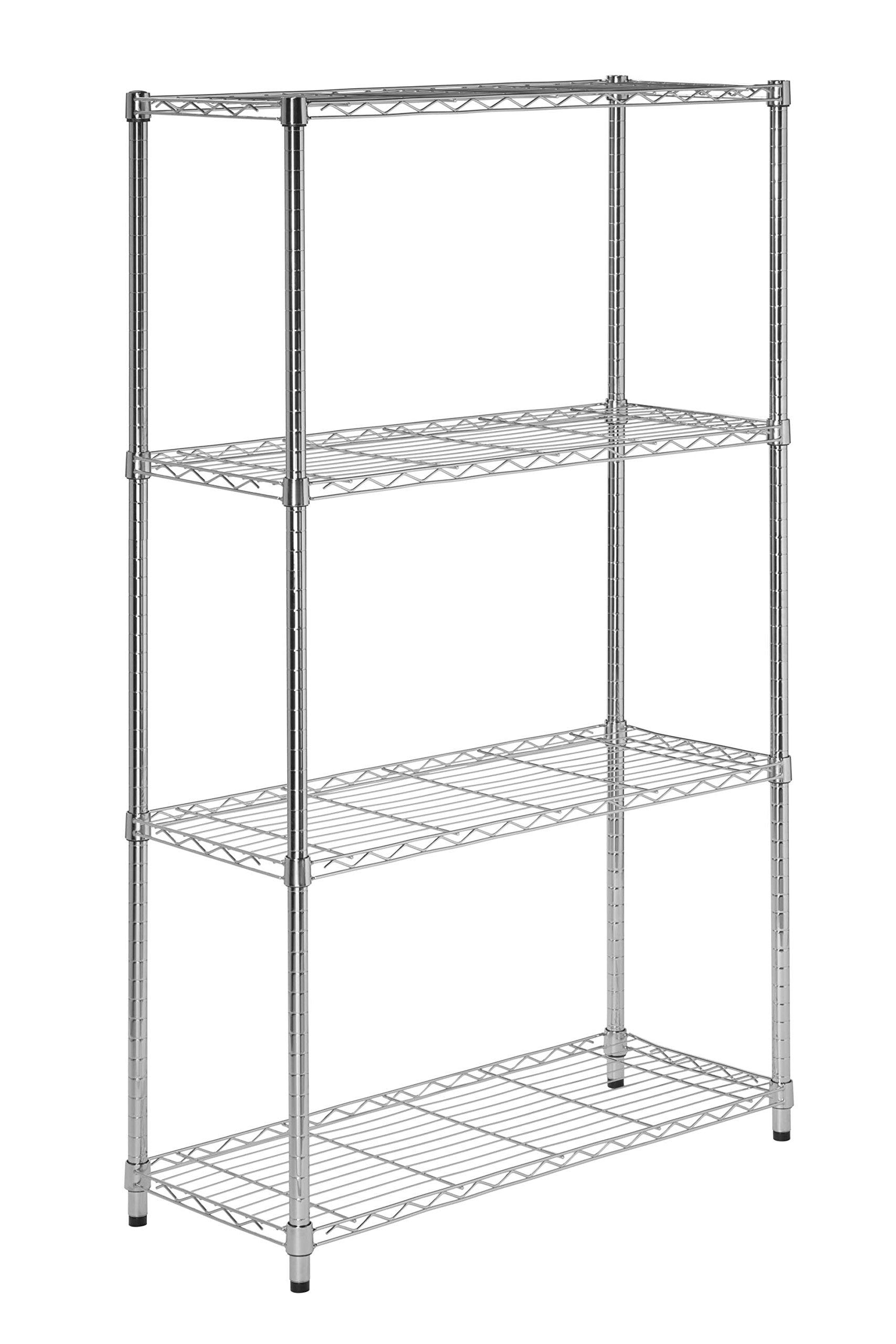 Honey-Can-Do 4-Tier Commercial Grade Adjustable Storage Shelves, Chrome