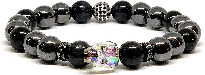 Men/'s Wrap Bracelet  10MM CATS EYE BLACK//VIOLET STONE beads Real leather