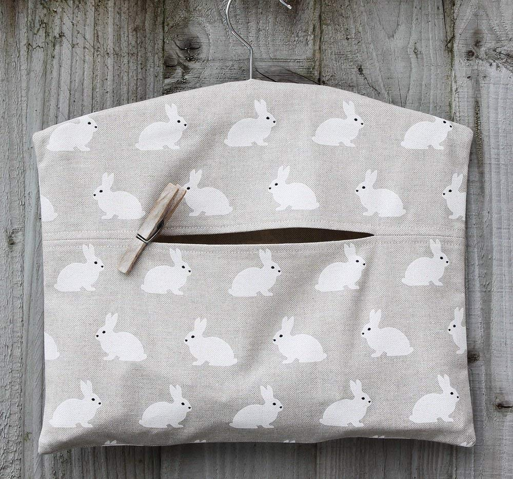 White Rabbit Linen Look Hanging Peg Bag